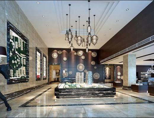 现代售楼部, 吊灯, 壁画, 台灯, 置物柜, 现代