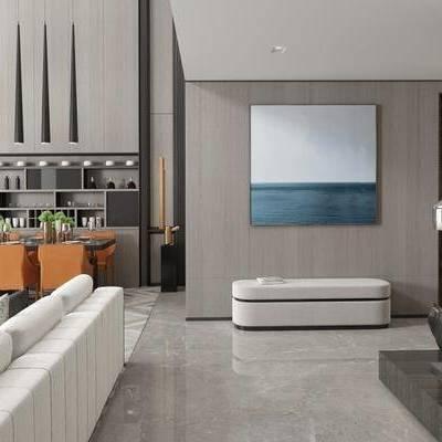 現代客廳, 沙發組合, 吊燈, 壁畫, 雕塑, 地毯, 酒杯, 現代