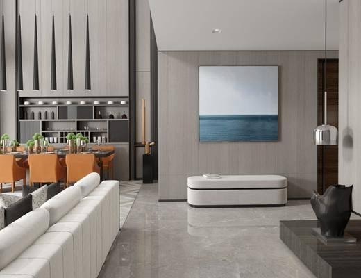 现代客厅, 沙发组合, 吊灯, 壁画, 雕塑, 地毯, 酒杯, 现代