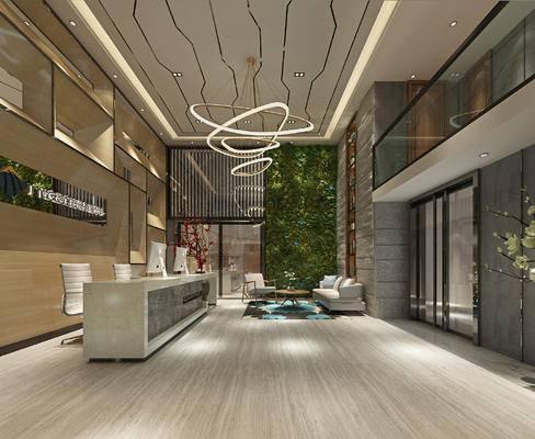 现代前台, 椅子, 吊灯, 多人沙发, 茶几, 现代