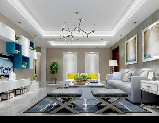 现代客厅, 壁画, 多人沙发, 茶几, 椅子, 电视柜, 边柜, 台灯, 沙发凳, 置物柜, 现代