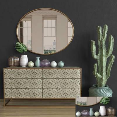 边柜, 镜子, 花瓶, 盆栽, 后现代