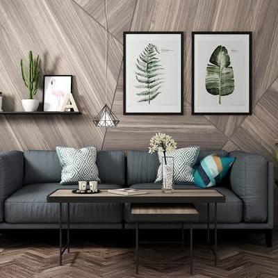 沙发组合, 双人沙发, 茶几, 壁画, 置物架, 边几, 盆栽, 北欧