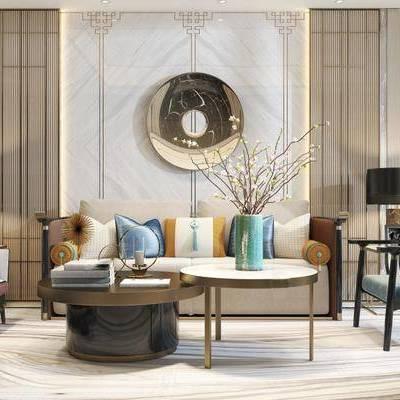 新中式客廳, 新中式沙發臺幾組合, 邊幾, 臺燈, 沙發躺椅, 新中式