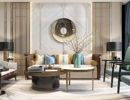 新中式客厅, 新中式沙发台几组合, 边几, 台灯, 沙发躺椅, 新中式