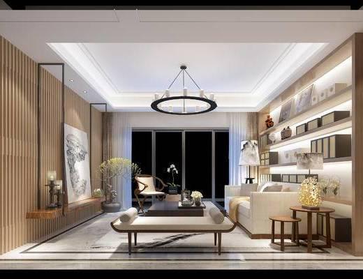 中式客厅, 吊灯, 置物柜, 边几, 沙发躺椅, 电视柜, 多人沙发, 椅子, 中式