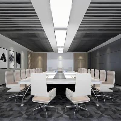 会议室, 桌子, 椅子, 壁画, 壁灯, 现代