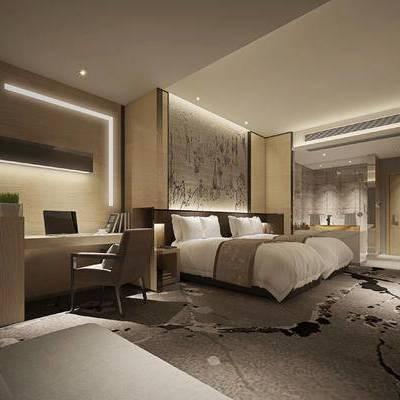 中式客房, 单人床, 壁画, 桌子, 椅子, 多人沙发, 中式