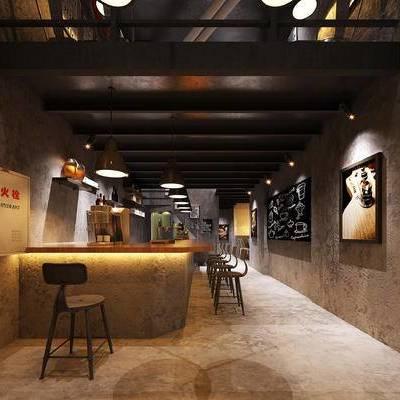 现代咖啡厅, 吧台, 吧椅, 壁画, 吊灯, 现代