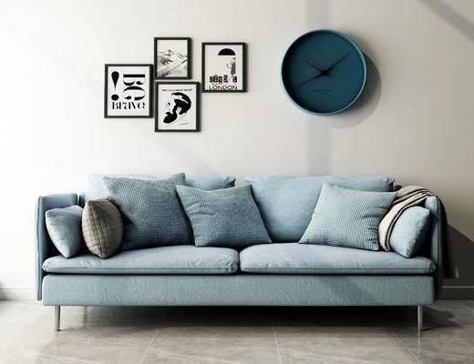 沙发组合, 双人沙发, 壁画, 现代