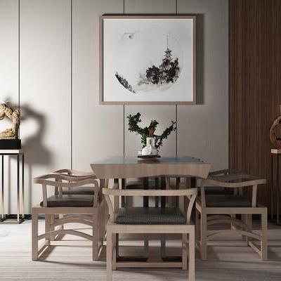桌椅组合, 桌子, 椅子, 壁画, 边几, 盆栽, 新中式