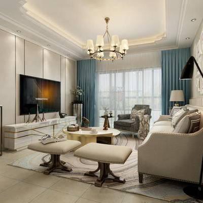 客餐厅, 吊灯, 桌椅组合, 边柜, 电视, 北欧, 下得乐3888套模型合辑