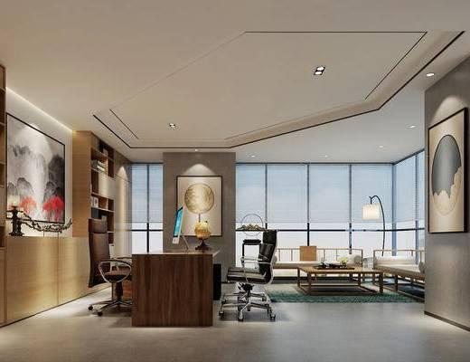 新中式, 办公室, 经理室, 置物架, 摆件, 沙发, 茶几, 落地灯, 挂画, 办公桌, 办公椅, 1000套空间酷赠送模型
