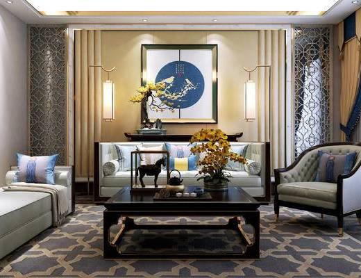 新中式, 沙发, 茶几, 挂画, 窗帘, 盆栽, 落地灯, 摆件