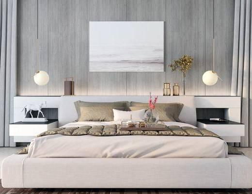 床具组合, 双人床, 壁画, 床头柜, 吊灯, 现代