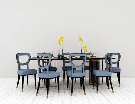 桌椅组合, 桌子, 椅子, 新中式
