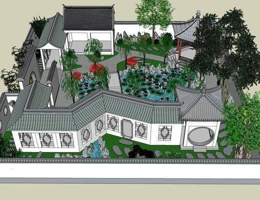 别墅, SU模型, 中式