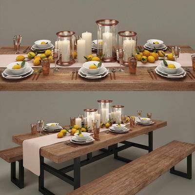 简欧, 餐桌椅, 餐具, 蜡烛, 水果