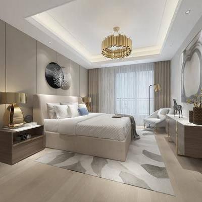 现代卧室, 双人床, 床头柜, 台灯, 吊灯, 沙发椅, 壁画, 边柜, 落地灯, 地毯, 现代