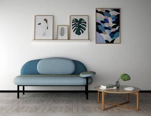沙发组合, 多人沙发, 茶几, 挂画, 现代
