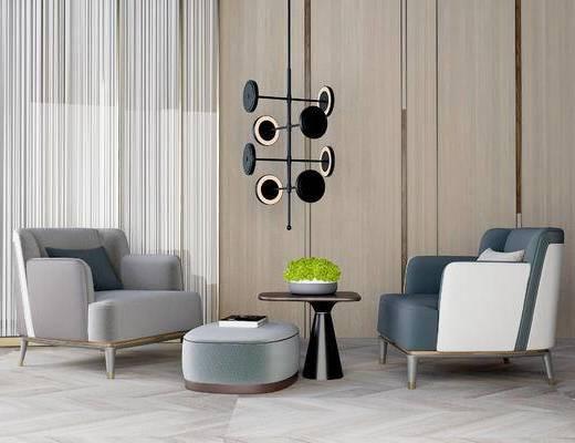 现代桌椅组合, 单椅, 茶几, 盆栽, 吊灯, 现代