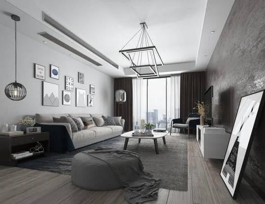 客厅, 沙发茶几UZ和, 吊灯, 装饰画, 北欧