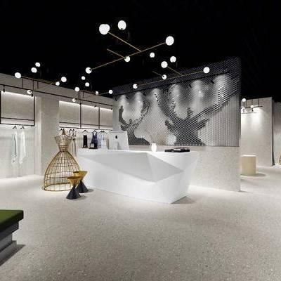 工业风, 服装店, 衣服, 射灯, 前台, 沙发, 吊灯, 1000套空间酷赠送模型