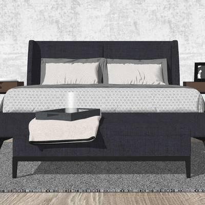 床, 双人床, 床头柜, 台灯, 床具, 现代