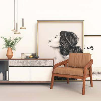 现代电视柜, 电视柜, 边柜, 边柜组合, 单椅