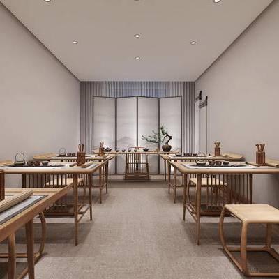 茶室, 桌子, 椅子, 盆栽, 茶具, 新中式