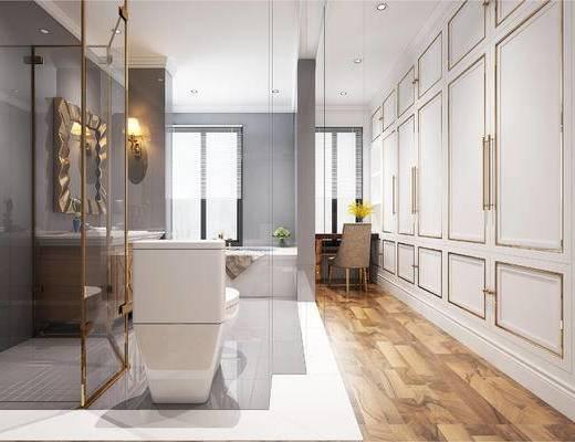 现代卫浴间, 壁灯, 洗手台, 镜子, 马桶, 桌子, 置物柜, 椅子, 现代