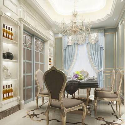 欧式餐厅, 桌子, 椅子, 酒柜, 吊灯, 欧式