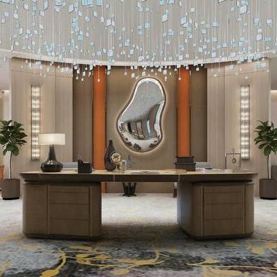 现代会议室, 桌子, 椅子, 会议桌, 吊灯, 边几, 台灯, 壁画, 盆栽, 现代