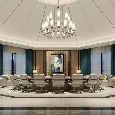 现代会议室, 吊灯, 会议桌, 椅子, 台灯, 边几, 壁画, 现代