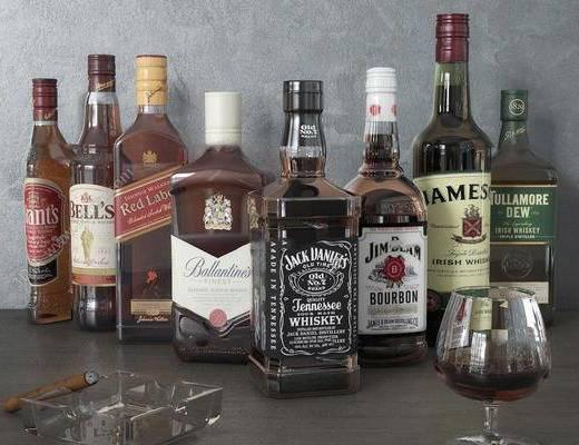 现代简约, 酒杯, 酒瓶, 摆件
