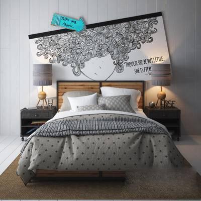 床, 台灯, 床头柜, 北欧