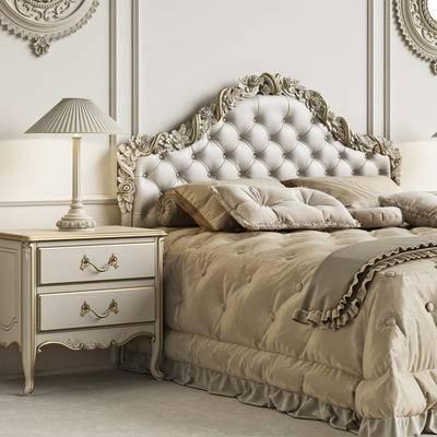 床, 台灯, 欧式, 床头柜