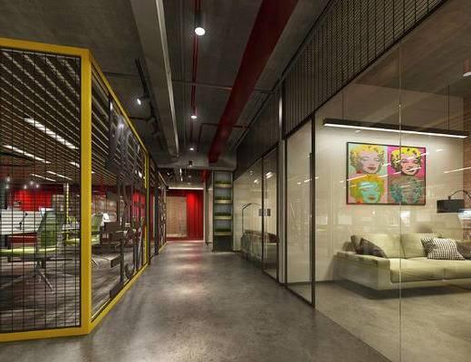 现代办公室, 桌子, 椅子, 台灯, 双人沙发, 落地灯, 壁画, 现代