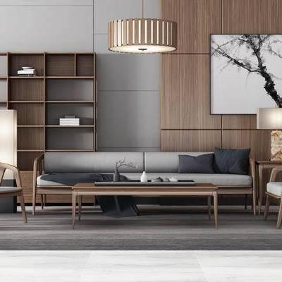 新中式客厅, 沙发茶几组合, 储物柜, 吊灯, 边几, 壁画, 台灯, 落地灯, 地毯, 新中式