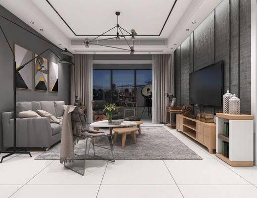 现代客厅, 电视柜, 多人沙发, 吊灯, 壁画, 茶几, 椅子, 落地灯, 现代