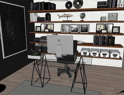 现代办公室, 桌子, 椅子, 置物架, 现代