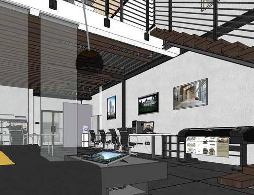 现代办公室, 桌子, 椅子, 壁画, 现代