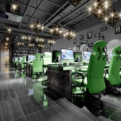 网吧, 吊灯, 壁画, 桌子, 椅子, 电脑, 现代