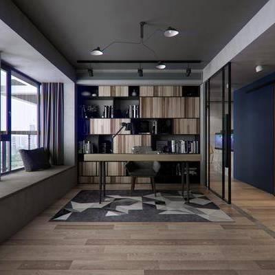 现代书房, 桌子, 吊灯, 台灯, 椅子, 地毯, 现代