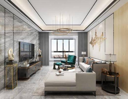 现代客厅, 客厅, 餐厅, 餐桌椅, 沙发组合