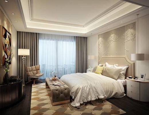 现代, 卧室, 床, 落地灯, 床头柜, 边柜, 吊灯, 脚踏, 1000套空间酷赠送模型
