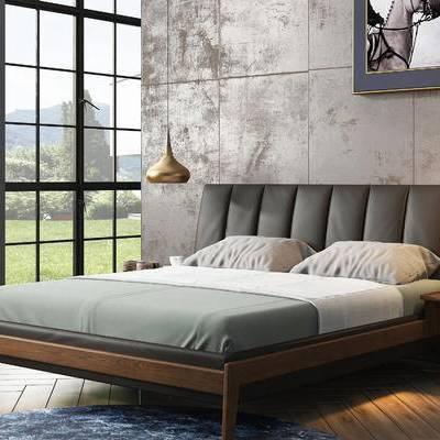 双人床, 吊灯, 壁画, 北欧