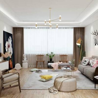 北欧客厅, 吊灯, 壁画, 多人沙发, 椅子, 落地灯, 边柜, 边几, 相框, 花瓶, 地毯, 北欧