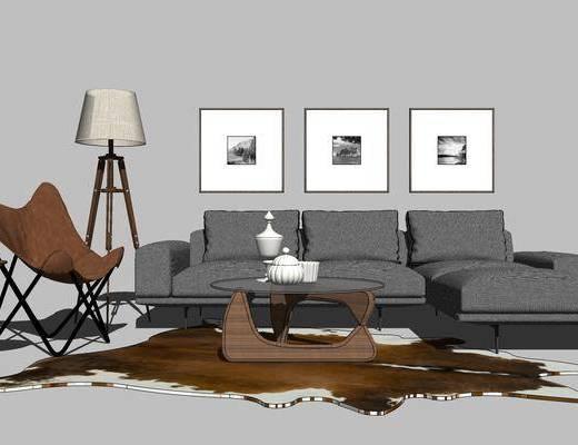 沙发组合, 多人沙发, 茶几, 壁画, 落地灯, 椅子, 现代