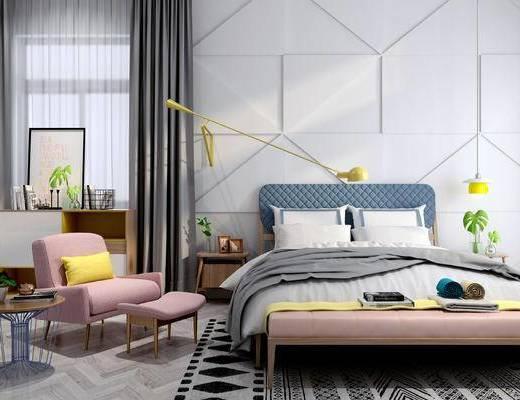 床具组合, 双人床, 椅子, 床头柜, 边几, 床尾塌, 壁灯, 北欧